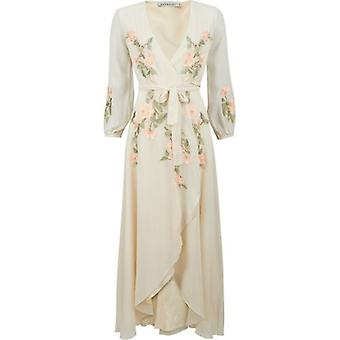 Hope And Ivy Floral Detail Wrap Maxi Dress