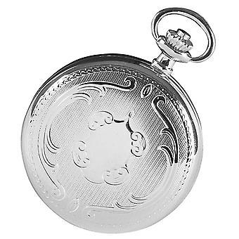 Woodford Chrome Plated Full Hunter Skeleton Mechanical Pocket Watch - Silver