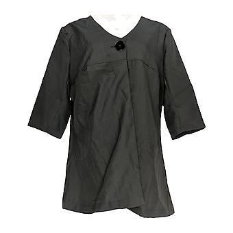 Masseys Women's Plus Short Sleeves Button-Up V-Neck Top Black
