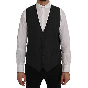 Dolce & Gabbana Gray Staff Wool Stretch Vest SIG60350-1