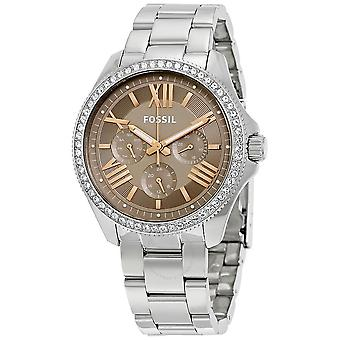 Fossil AM4628 Round Crystals Stainless Band Ladies Watch