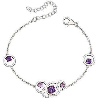 Elements Silver Round Amethyst Bracelet - Silver/Purple