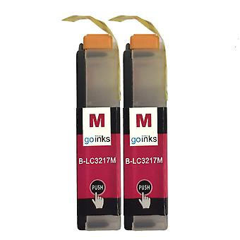 2 Magenta-mustekasettia Brother LC3217M Compatible/non-OEM by Go Inksin tilalle
