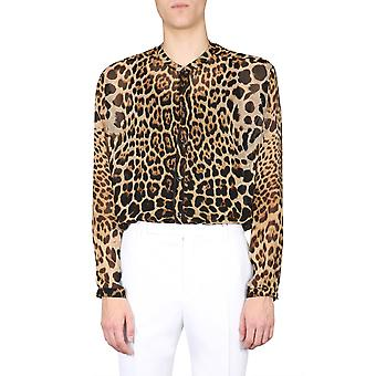 Saint Laurent 599289y821s9665 Men's Leopard Silk Shirt