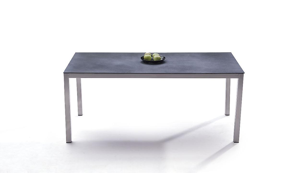 Edelstahl Esstisch Granitglas 180 cm - anthrazit