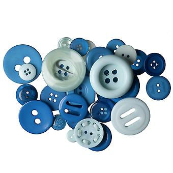 60g Assorted Blue Buttons for Crafts | Sewing Scrapbooking Card Making