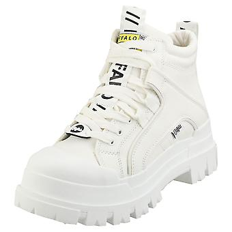 Buffalo Aspha Mid Vegan Womens Platform Boots in White