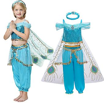 Girls Princess Jasmine Aladdin 3 Piece Party Cosplay Fancy Dress Costume