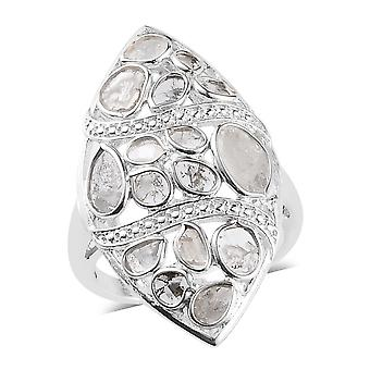 GP White Diamond Cocktail Platinum Plated Sterling Silver Ring Blue Sapphire