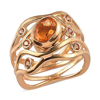 GP Opal, Orange, Blue Sapphire Solitaire Ring in 14ct Gold Plated Silver 1.02 Ct