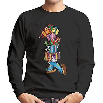 Disney Christmas Goofy Mountain Of Presents Men's Sweatshirt