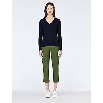 MERAKI Women's Cotton V Neck Sweater, Blå (Marinen), EU XL (US 12-14)
