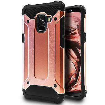 Hybrid Mobile Shell pour Samsung Galaxy A5 (2018) Or rose (or rose) TPU et Plastique