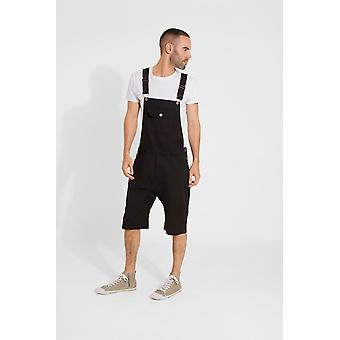 Jesse mens slim fit katoenen dungaree shorts-zwart
