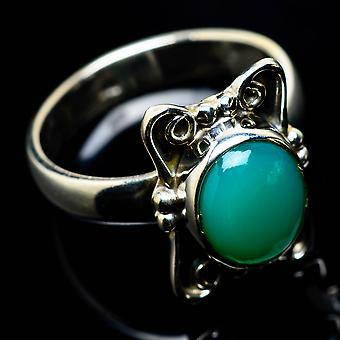 Chrysoprase Ring Size 7.25 (925 Sterling Silver)  - Handmade Boho Vintage Jewelry RING25052