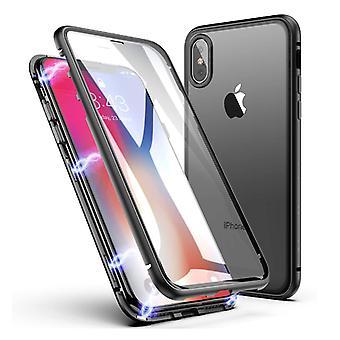 דברים מאושרים® iPhone XR מגנטי 360 ° מגן עם זכוכית מחוסמת - כיסוי גוף מלא מגן + מגן מסך שחור