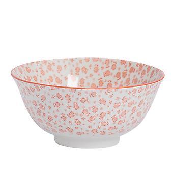 Nicola Spring Daisy Patterned Cereal Bowl - Porcelain Breakfast Dessert Serving Dish - Coral - 16cm