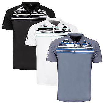 Stuburt Mens Kingsclere Moisture Wicking Striped Golf Polo Shirt