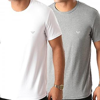 Emporio Armani 2 Pack Logo Stretch Underwear T-Shirts Grey & White 111267 0A720