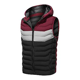 YANGFAN Men's Color Block  Hoodie Vest Warm Winter Comfy Full Zip Gilet Waistcoat