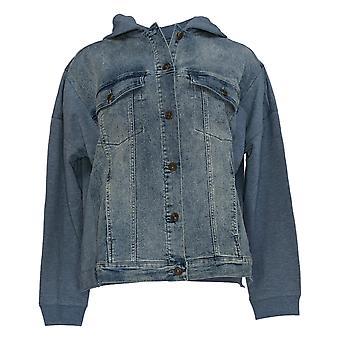 DG2 door Diane Gilman Women's Blue Basic Jacket Hooded 728-480