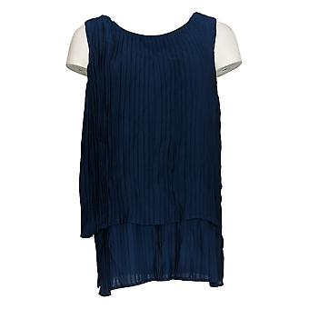 DG2 by Diane Gilman Women's Top Blue Blouse Pleated Sleeveless 722-000