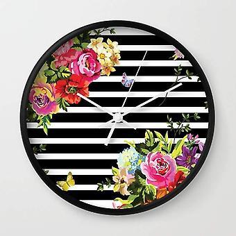 Stripes Floral Wall Clock
