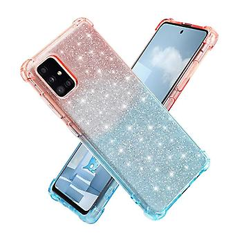 For Samsung Galaxy A51 4G Gradient Glitter Powder Shockproof TPU Protective Case(Orange Green)