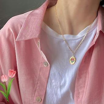 Corée New Hot Small Daisy Tulip Metal Pendentif, Collier, Bagues, Bracelet