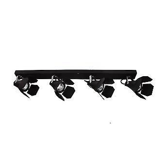 Moderne Spotlights Black 4 Light met zwarte matte tint, GU10