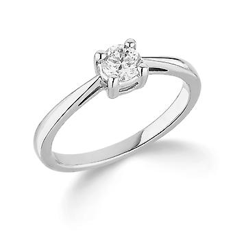 9K White Gold Slim Tapered 4 Claw Setting 0.35Ct Certified Solitaire Diamond Engagement Ring
