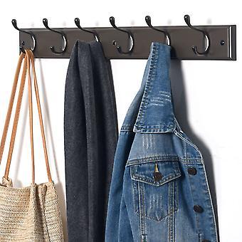 6 Double Hook Wall Mounted Door Clothes Hanger Coat Rack in Charcoal Grey