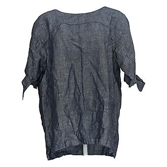 Martha Stewart Mujeres's Blusa de manga de codo superior con detalle de lazo azul A309323