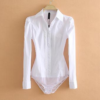Women Office Lady Work White Body Shirt Long Sleeved Fashion Tops