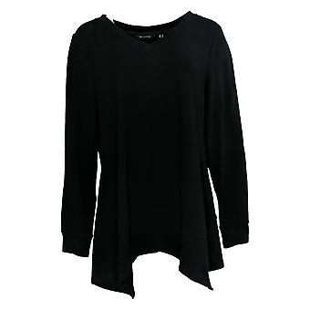 H By Halston Women's Top Long Sleeve V Neck W/ Asymmetric Hem Black A368047