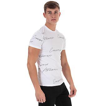 Menn's Armani All Over Logo T-skjorte i hvitt