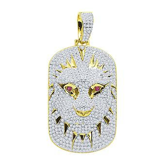 925 sterling hopea 3D riipus - LION DOG TAG kultaa