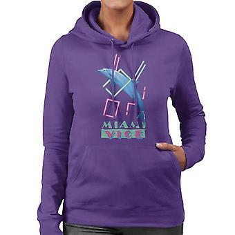 Miami Vice Dolphin Jump Women's Hooded Sweatshirt
