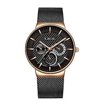 Lige Luxury Watch Men - Anologue Quartz Movement for Men Gold