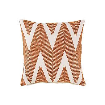 20 X 20 Zippered Cotton Accent Pillow With Herringbone Print, Set Of 4, Orange