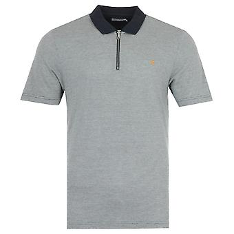 Farah Beverly Houndstooth Zip Polo Shirt - Navy