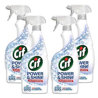 4pk Cif Power & Shine Multi-Purpose with bleach 100% stubborn dirt removal 700ml