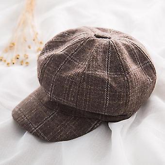 Plaid Octagonal Hat, Autumn Winter Vintage Beret Hat