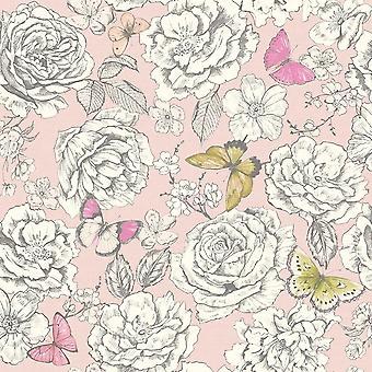 Frieda Dusty Pink Lime Wallpaper