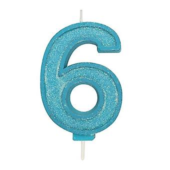 Blue Sparkle Numeral Candle - Number 6 - 70mm