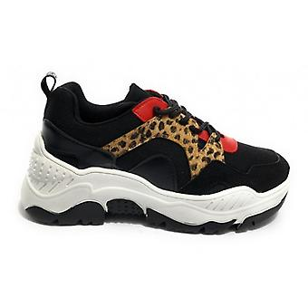 Women's Sneakers With Wedge Gold&gold Faux leather/ Black Fabric/ Leopard/ Red D20gg43