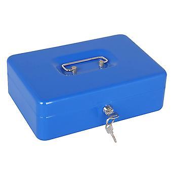 Metal Cash Box Penge Bank Depositum Steel Tin Sikkerhed Safe Petty Key Låsbar Rød
