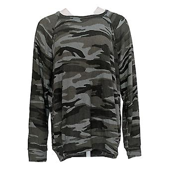 Buffalo Women's Sweater Novelty Printed Long Sleeve Crew Neck Gray