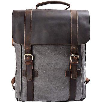 S-ZONE 15 Zoll Laptop Rucksack Segeltuch Leder Canvas Vintage-Stil Unisex Daypack Schulrucksack