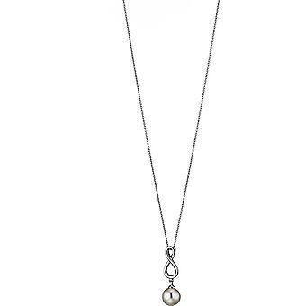 Collana di perle Adriana con pendente acqua dolce bianco infinito argento rodio 50 cm B2-W